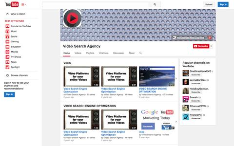 Screenshot of YouTube Page youtube.com - Video Search Agency  - YouTube - captured Oct. 25, 2014