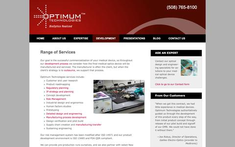 Screenshot of Services Page optimum-tech.com - Our range of services | Optics Design to Manufacture | Optimum - captured Oct. 19, 2018