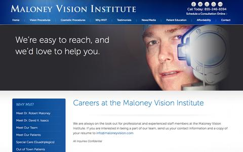 Screenshot of Jobs Page maloneyvision.com - Careers at MVI | Maloney Vision Institute | Dr. Robert Maloney - captured Oct. 4, 2014