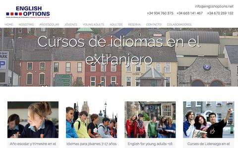 Screenshot of Home Page englishoptions.net - Cursos de idiomas en el extranjero - captured Aug. 8, 2017