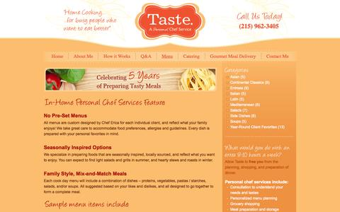 Screenshot of Menu Page tastebuckscounty.com - Gourmet Personal Chef | Personal Chef Catering | Newtown PA - captured Oct. 26, 2014