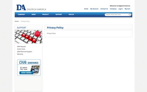Screenshot of Privacy Page digitechamerica.com - Privacy Policy - captured Sept. 30, 2014