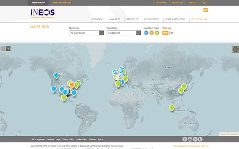 Screenshot of Locations Page ineos.com - Locations - captured Oct. 10, 2014