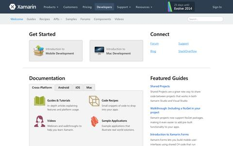 Screenshot of Developers Page xamarin.com - Home | Xamarin - captured Sept. 11, 2014