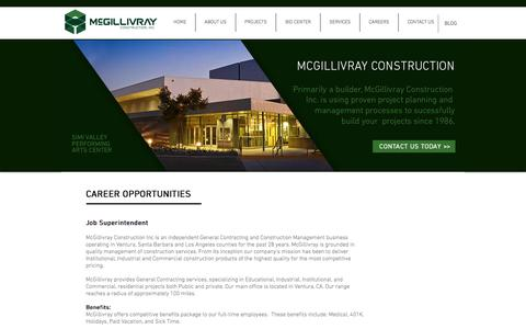 Screenshot of Jobs Page mcgcorporation.com - McGillivray Construction | Career Opportunities - captured Oct. 18, 2017