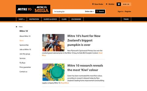Screenshot of Press Page mitre10.co.nz - News | Mitre 10™ - captured Aug. 28, 2016