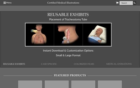 Screenshot of Home Page certifiedmedicalillustrations.com - Certified Medical Illustrations - Medical Illustrations, Medical Exhibits, Trial Exhibits, Demonstrative Evidence, Legal Graphics, Medical Animations, Timelines - captured July 12, 2016