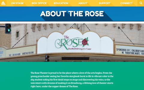 Screenshot of About Page rosetheater.org - About  |  The Rose Theater - captured Dec. 22, 2016