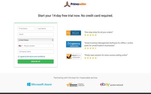 Screenshot of Signup Page primaseller.com - Primaseller Inventory Management Software With 14 day free trial - captured May 21, 2017