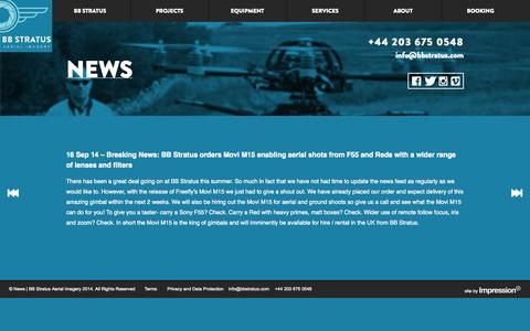 Screenshot of Press Page bbstratus.com - News | BB Stratus Aerial Imagery - captured Nov. 2, 2014
