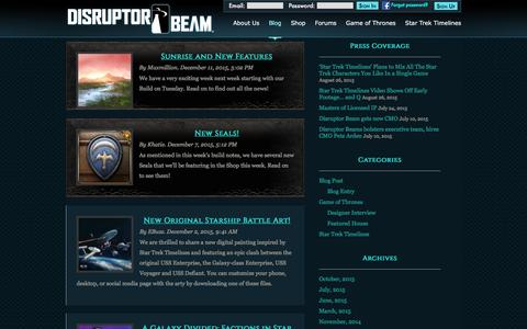 Screenshot of Press Page disruptorbeam.com - News | Disruptor Beam - captured Dec. 16, 2015