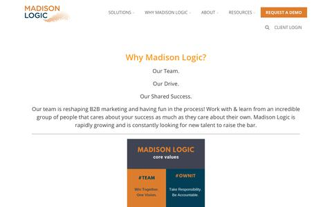 Screenshot of Jobs Page madisonlogic.com - Careers - Account-Based Marketing from Madison Logic - captured Jan. 7, 2020