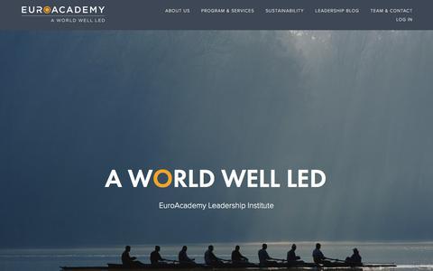 Screenshot of Home Page euro-academy.com - EuroAcademy | Leadership Institute - captured July 22, 2018