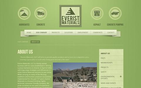 Screenshot of About Page everistmaterials.com - About Us - captured Oct. 3, 2014