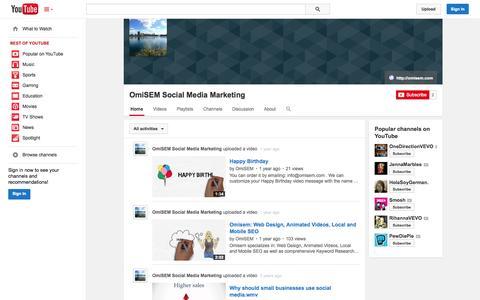 Screenshot of YouTube Page youtube.com - OmiSEM Social Media Marketing  - YouTube - captured Oct. 26, 2014