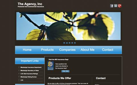 Screenshot of Products Page theagencyms.com - The Agency, Inc - Personal and Commercial Insurance - captured Oct. 26, 2014