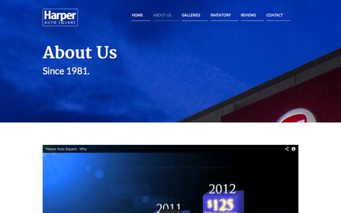 Screenshot of About Page harperautosquare.com - Harper Auto Square |   About Us - captured Oct. 2, 2014