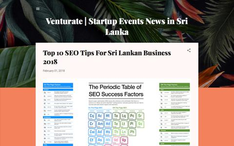 Screenshot of Home Page venturate.com - Venturate | Startup Events News in Sri Lanka - captured Sept. 24, 2018