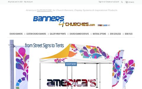 Screenshot of Home Page banners4churches.com - Banners4Churches | America's #1 SUPERSTORE for Church Banners and Displays - captured Feb. 7, 2016