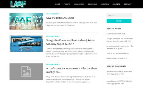 Screenshot of Blog la-af.com - Blog - Los Angeles A Cappella Festival - captured Sept. 30, 2018