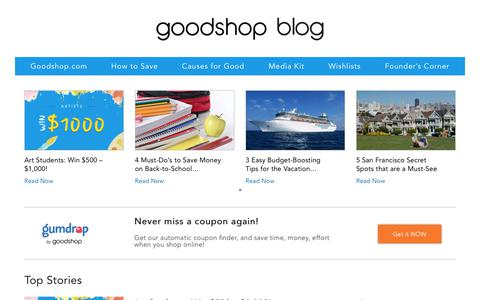 Screenshot of Blog goodsearch.com - Goodshop blog - captured Aug. 4, 2017
