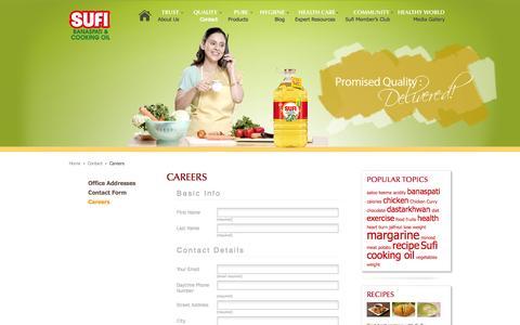 Screenshot of Jobs Page sufioilandghee.com - Careers | Sufi Oil and Ghee - captured Oct. 1, 2014