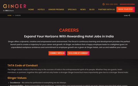 Screenshot of Jobs Page gingerhotels.com - Hotel Jobs in India at Award-Winning Chain | Ginger Hotels - captured Sept. 30, 2018