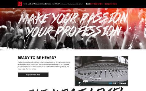Screenshot of Landing Page lafilm.edu - go.lafilm.edu  Los Angeles Recording School - go.lafilm.edu - captured Aug. 3, 2016
