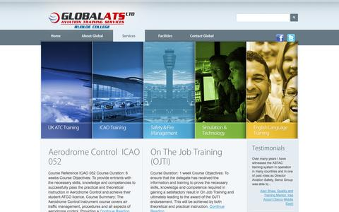 Screenshot of Services Page global-ats.com - Services  |  Air Traffic Control Training – Global ATS Limited - captured Oct. 2, 2014