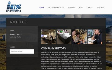 Screenshot of About Page ies-engr.com - About Us - IES - captured Oct. 3, 2014