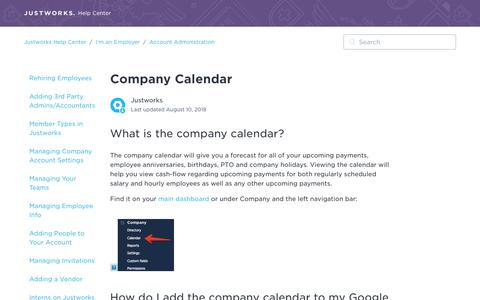 Screenshot of Support Page justworks.com - Company Calendar – Justworks Help Center - captured May 10, 2019