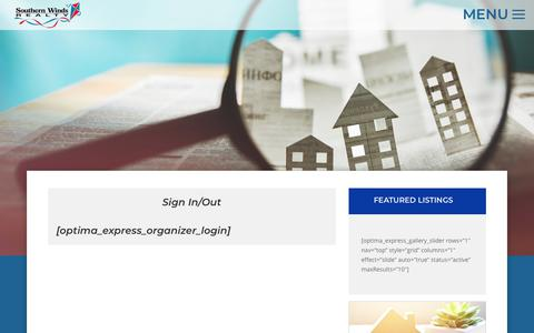 Screenshot of Login Page southernwinds.com - Property Organizer - Southern Winds Realty - captured June 13, 2019