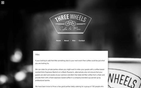 Screenshot of Menu Page threewheelscoffee.com - Hire | Three Wheels Coffee - captured Oct. 9, 2014