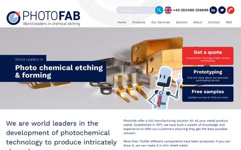 Screenshot of Home Page photofab.co.uk - Chemical Etching | Photo Etching Experts | Milling | UK | Photofab - captured Oct. 3, 2019