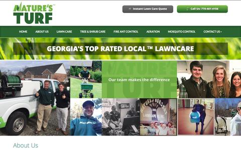 Screenshot of About Page naturesturf.com - Lawn Care Service Fayetteville | Lawn Treatment Companies GA | Turf Control 30214 - Nature's Turf - captured Feb. 28, 2016