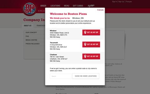 Screenshot of About Page bostonpizza.com - About Us | Boston Pizza - captured Nov. 23, 2016