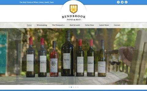 Screenshot of Home Page bendbrookwines.com.au - Bendbrook Wines & Beef – Adelaide Hills Winery  Bendbrook Adelaide Hills Wines - captured Oct. 5, 2014