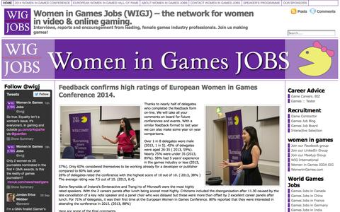 Screenshot of Home Page womeningamesjobs.com - Women in Games Jobs (WIGJ) for more women in gaming. - captured Sept. 30, 2014
