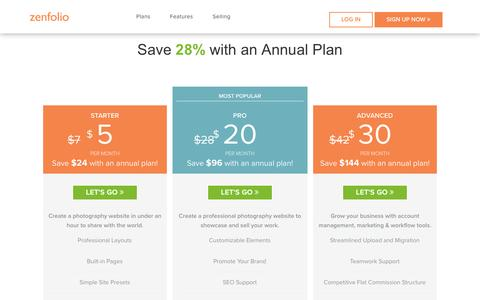 Screenshot of Signup Page Pricing Page zenfolio.com - Zenfolio - Plans - captured Jan. 19, 2017