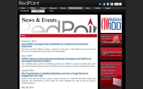 Screenshot of Press Page redpoint.net - News - captured Sept. 17, 2014