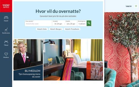 Screenshot of Home Page thonhotels.no - Hotell i Norge, Belgia og Nederland | Thon Hotels - captured April 24, 2018