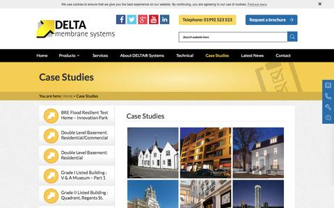 Screenshot of Case Studies Page deltamembranes.com - Case Studies | Waterproofing Projects | Delta Membranes - captured Nov. 23, 2016