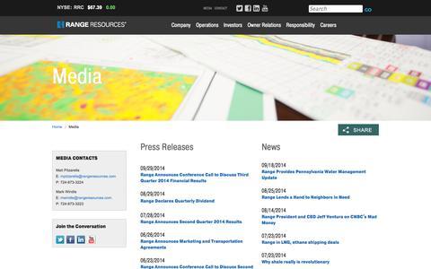 Screenshot of Press Page rangeresources.com - Range Resources - Media - captured Oct. 29, 2014