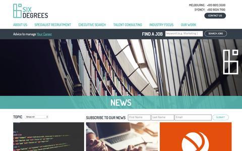Screenshot of Press Page sixdegreesexecutive.com.au - News - Six Degrees Executive - captured Dec. 2, 2016