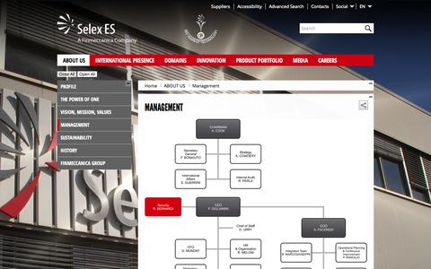 Screenshot of Team Page selex-es.com - Management - Selex ES - captured Sept. 19, 2014