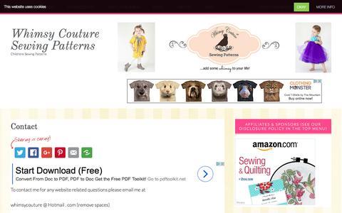 Screenshot of Contact Page whimsycouturesewingpatterns.com - Contact - Whimsy Couture Sewing Patterns - captured Dec. 11, 2016