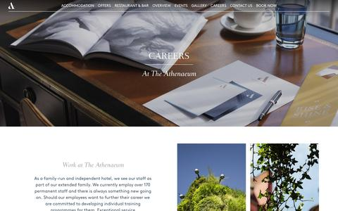 Screenshot of Jobs Page athenaeumhotel.com - Luxury Mayfair Hotel Careers At The Athenaeum Hotel - captured Nov. 14, 2016