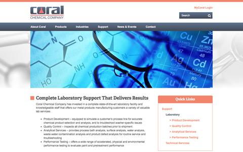Screenshot of Support Page coral.com - Laboratory   Coral Chemical Company - captured Nov. 12, 2016