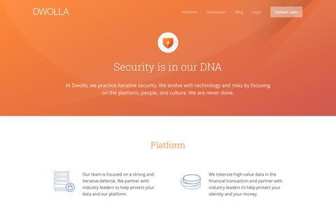 Screenshot of dwolla.com - Security - captured Dec. 30, 2017