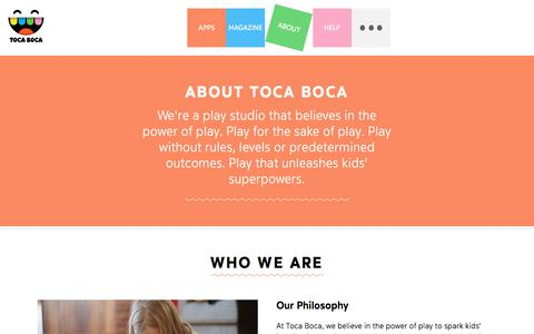 Screenshot of About Page tocaboca.com - About Us | A new way to play | Toca Boca - captured June 22, 2017